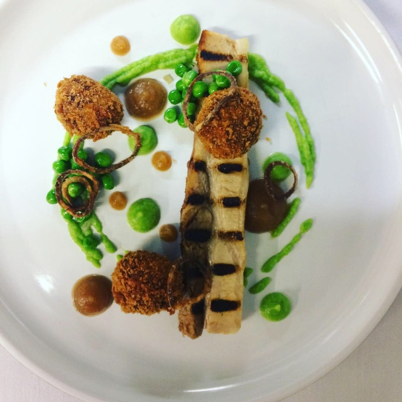 Pork belly, pork Bon Bon, pea, caramelised onion