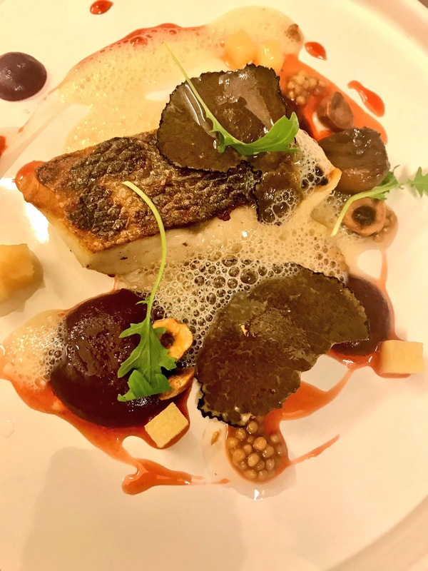 Sea bass, red cabbage, quince, chestnuts and truffle