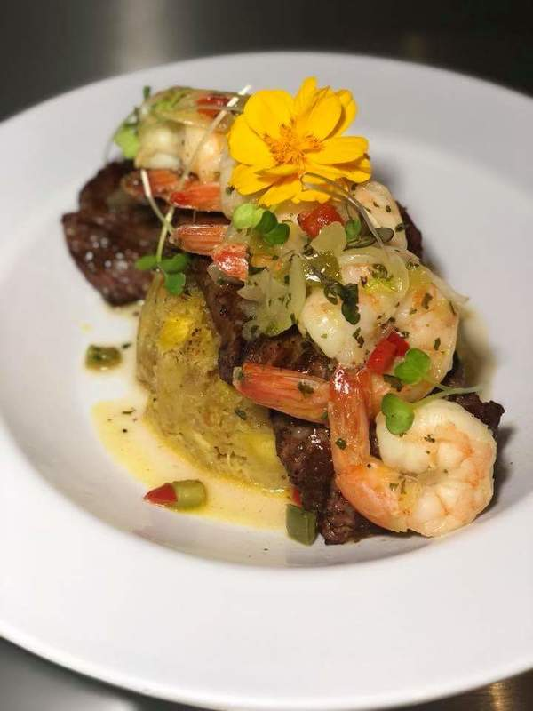 Mofongo... Steak with grill and shrimp with garlic