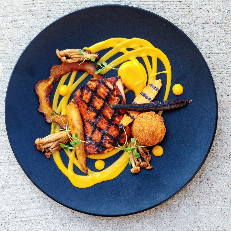 Black n' bleu rubbed mahi•roasted squash•squash puree•carrot•shemeji mushroom•burgundy truffle croquette