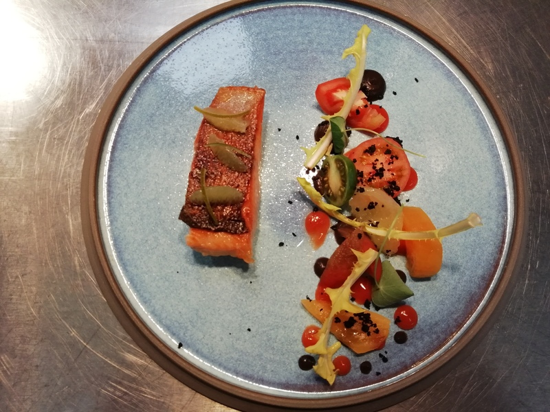 Chalk stream trout/ heritage tomatoes/ Black olive/ vanilla