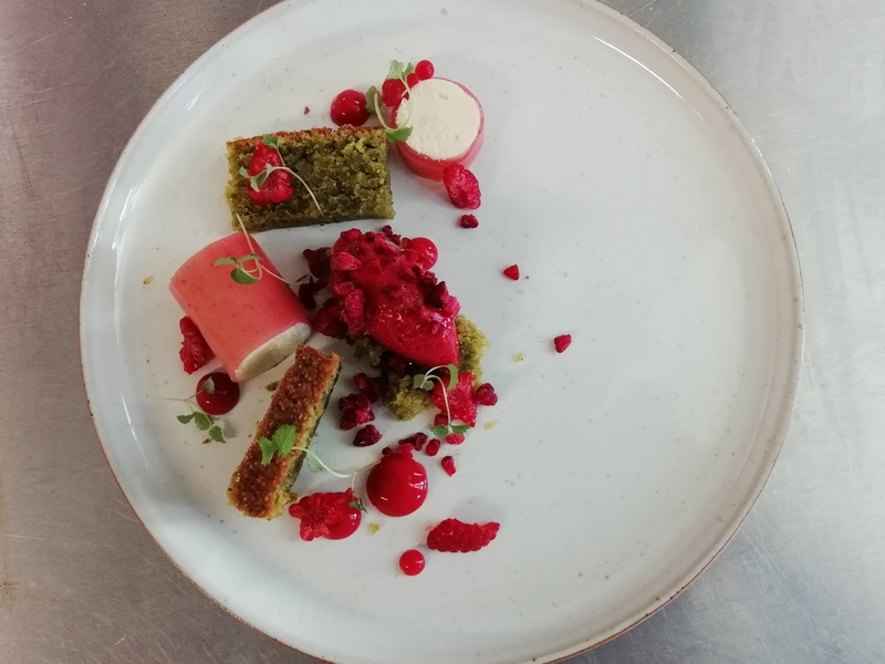 Raspberry and pistachios