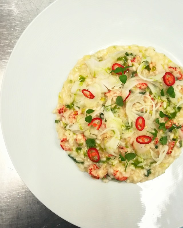 Crayfish tail & leek risotto, pickled fennel, chilli, herb oil..