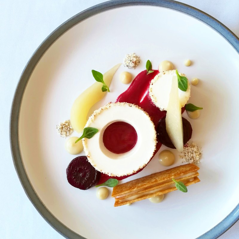 Goats cheese & hazelnut mousse, poached pear, roasted beetroot, pear, thyme, butter toast.