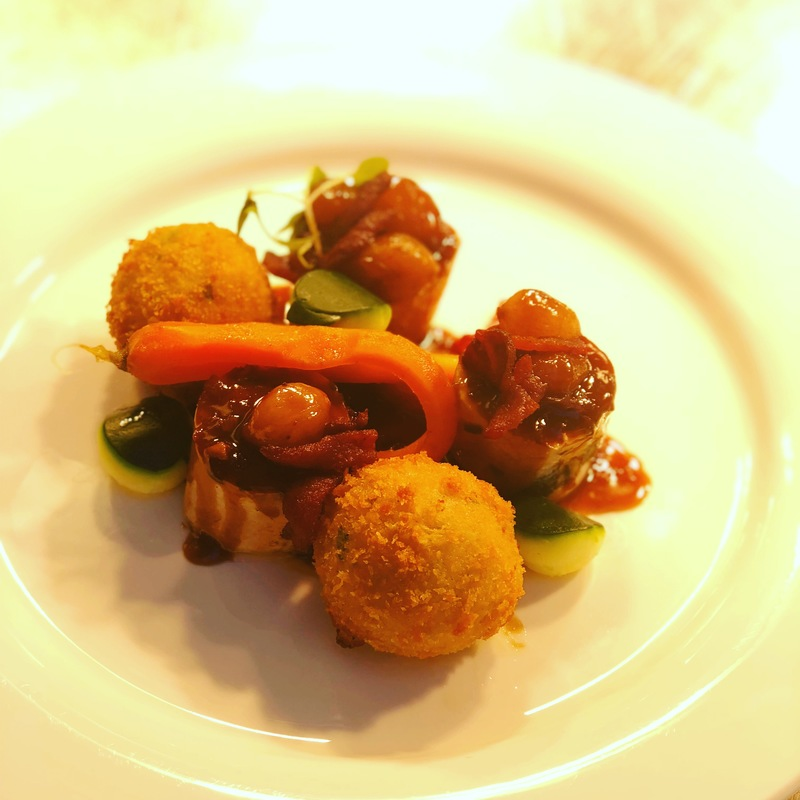 Chicken, pearl onions, smoked bacon , grain mustard croquettes