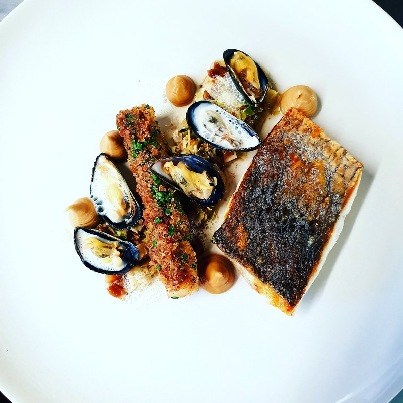Stone bass / maple glazed salsify rolled in sourdough and bacon crumb / salsify caraway and apple puree / brusel sprout and almond dukkah / smoked mussels and a sauce from the juices.