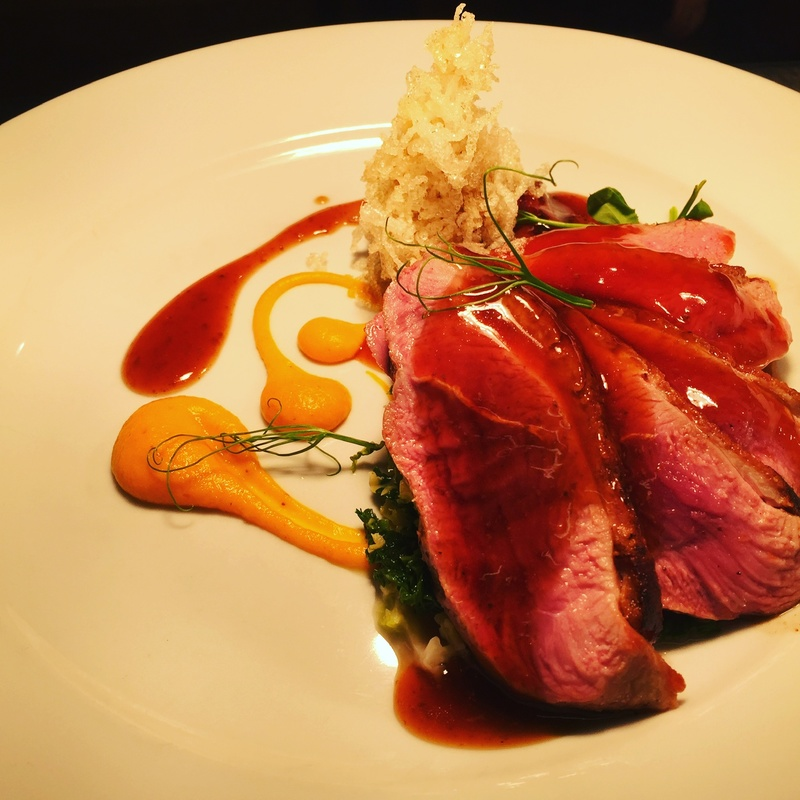 Duck breast, duck leg tapioca, savoy, salsify, carrot puree