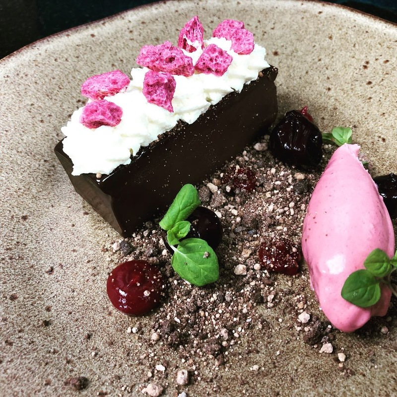 B.F.G ( Black Forest Gateau) Chocolate delice, chocolate soil, chantilly cream , cherry ice cream and gel ,