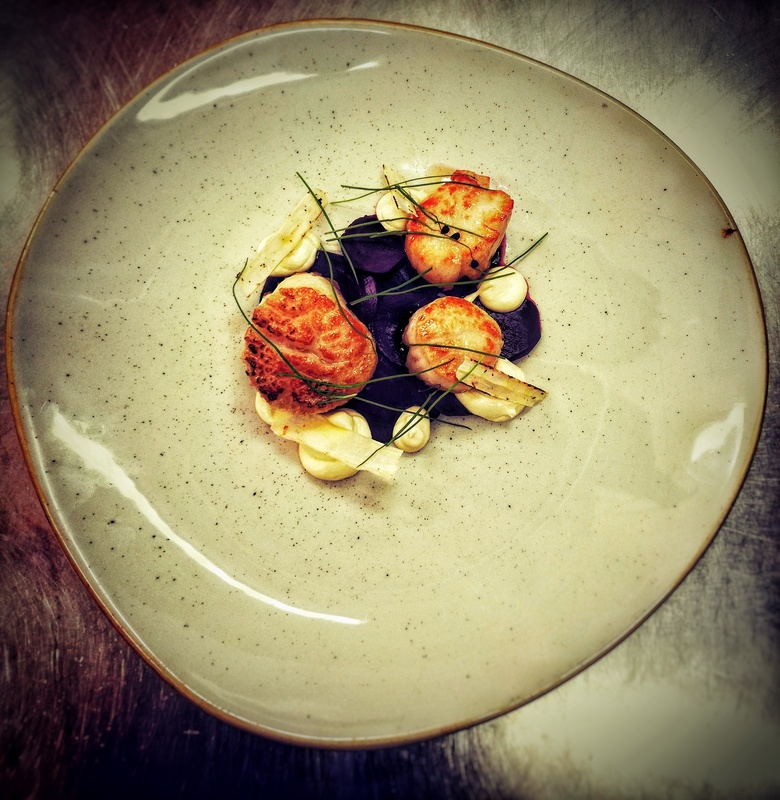 Scallops, marinated beetroot, crispy salsify, horseradish and lime cream, garlic chives.