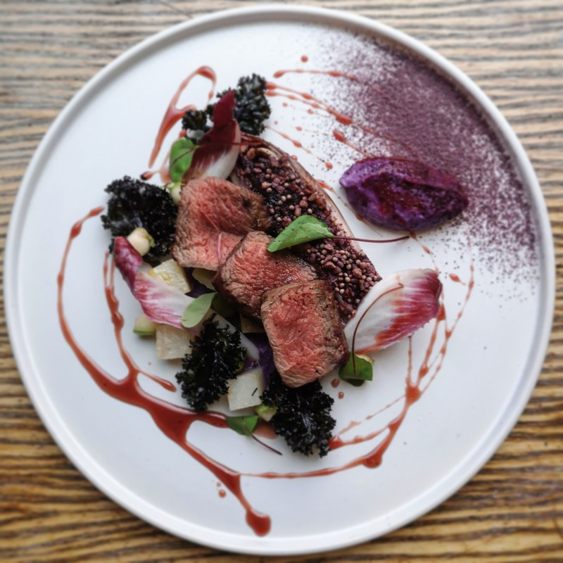 Venison loin, butter roast chicory topped with mutsrd seeds and mapel flakes, roast kohlrabi, kale, red cabbage, pickled apple and mapel and bramble vinaigrette.
