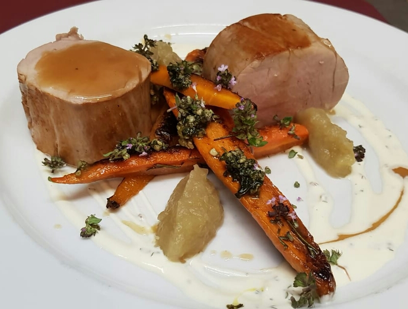 Today's Special:  Pork tenderloin, bake and glazed carrots, thyme infused cream, burnt apple puree.