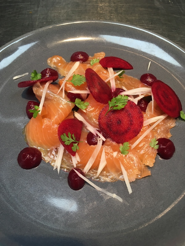 Vodka cured salmon, beetroot horseradish and apple pure, pickled salsifi, crispy beetroot and chervil