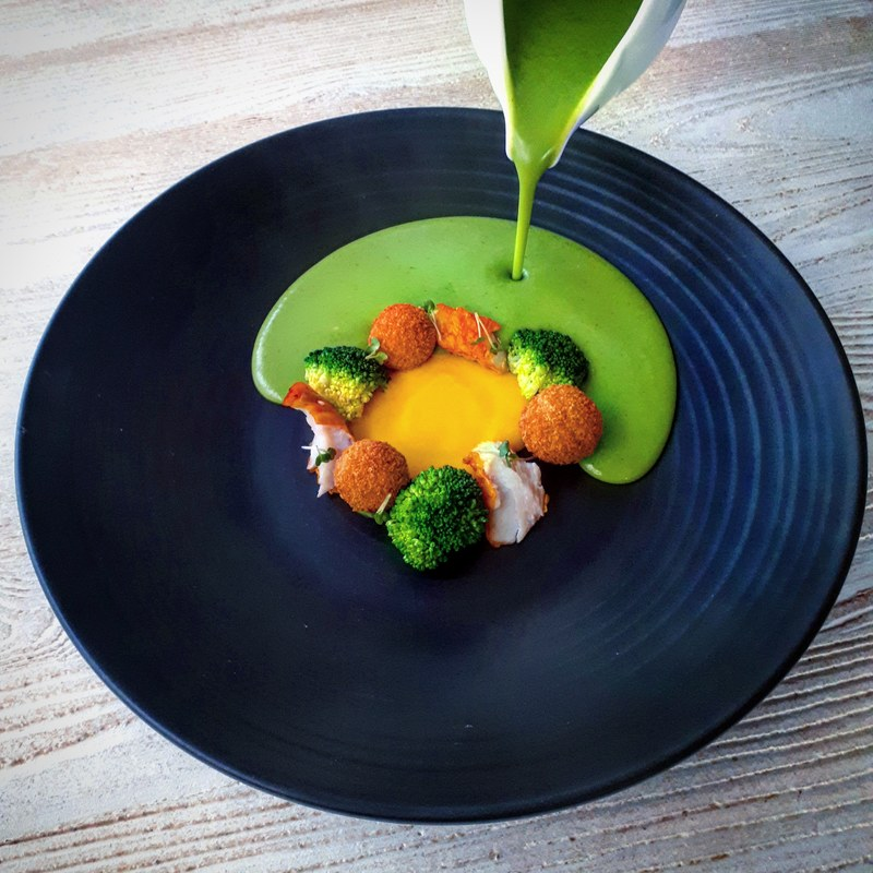 Broccoli soup, smoked cod, egg yolk puree