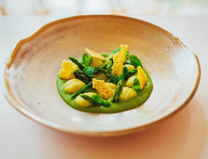 Green peas gnocchi, mint and asparagus.