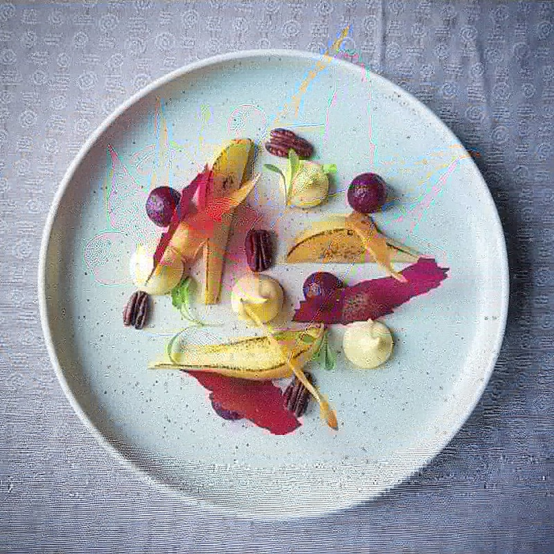 Ardsallagh goats cheese custard. Poached and scorched pear, parsnip, beetroot, toasted pecans.