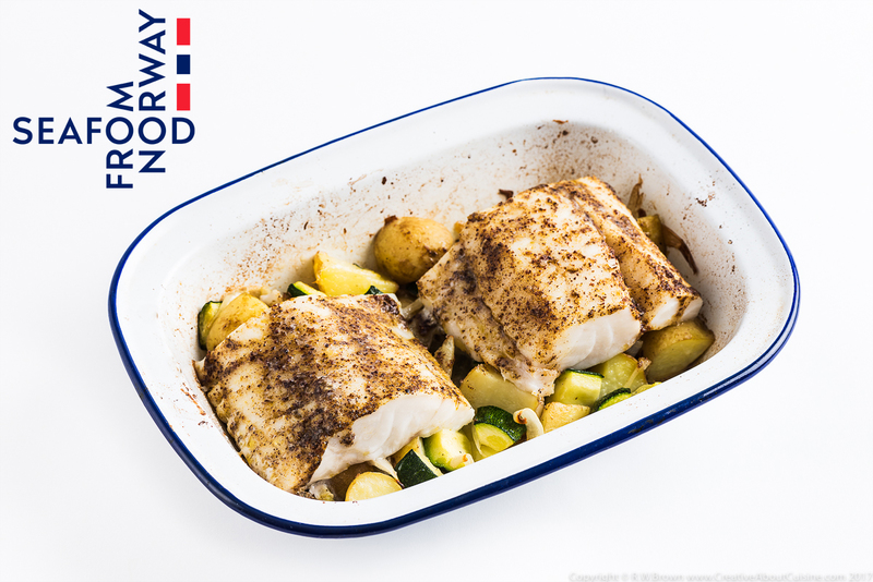 Baked Norwegian cod with Moroccan spices and preserved lemon