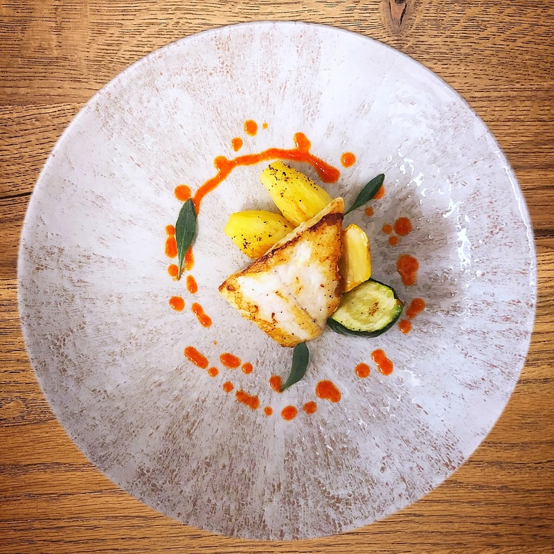 Turbot, yellow & green courgettes, pommes Château, smoked tomato coulis, sea purslane.