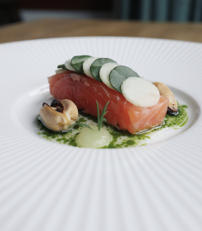 Salmon, Mussel Juice, Sea Herbs (Different Angle)