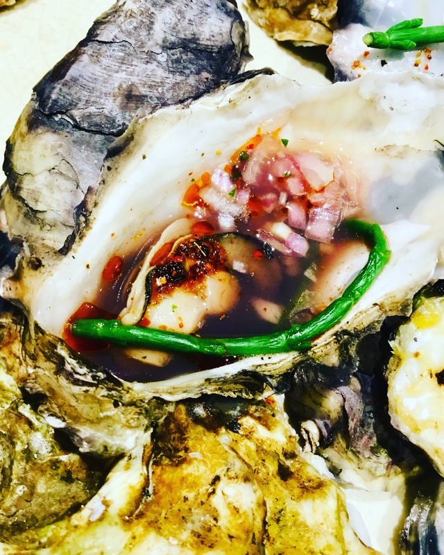 Red wine steamed oyster, shallot,samphire, merken oil