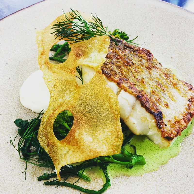 Seared cod, white bean purée, samphire, tenderstem, spinach , herb emulsion, potato crisp