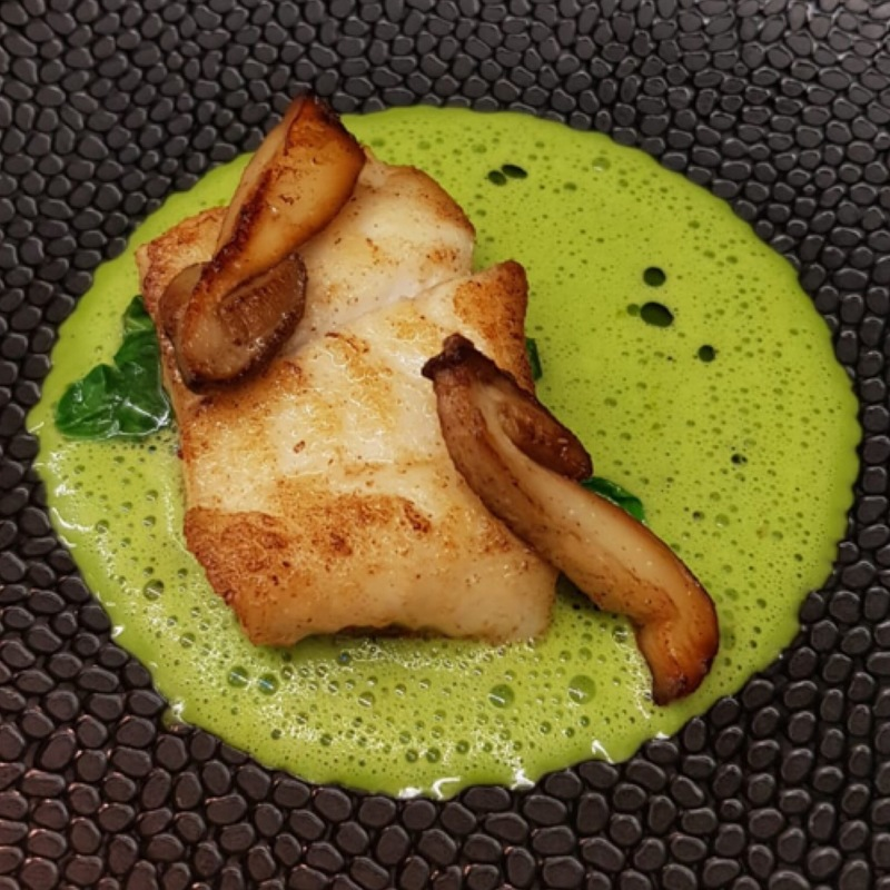 Turbot, Spinach, Spinach Beurre Blanc, Porcini Mushrooms. Simply but Delicious.