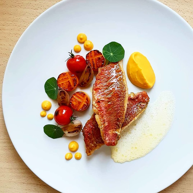 Pan seared red mullet•roasted yellow carrot puree•sweet potato fondant•shallots•cherry tomato•orange olive oil/buttermilk... Tbt!