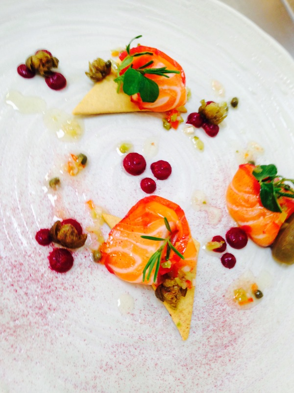 Beetroot &I Gin Cured Salmon - Capers - Beet Purée - Thyme Crakers