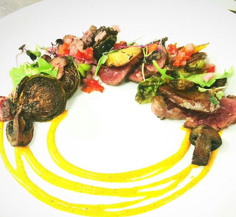 Seared Ribeye, curried buttermilk, peppadew relish