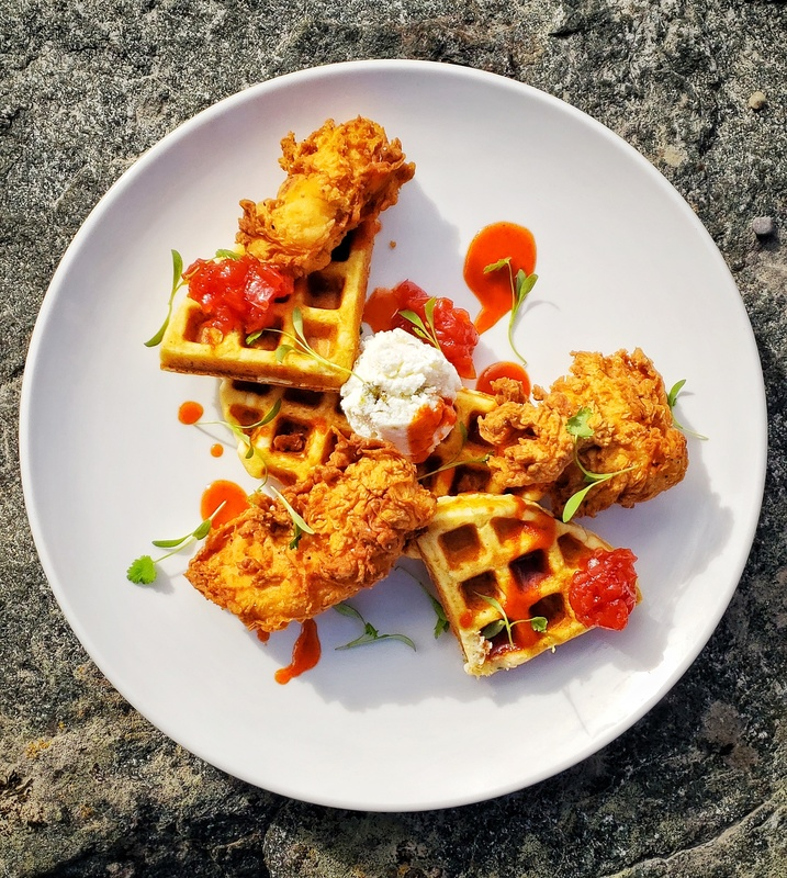 Waffled Crab Cakes:black_small_square:Fried Chicken:black_small_square:Maple Sriracha Syrup:black_small_square:Jalapeno Ricotta:black_small_square:Tomato Jam