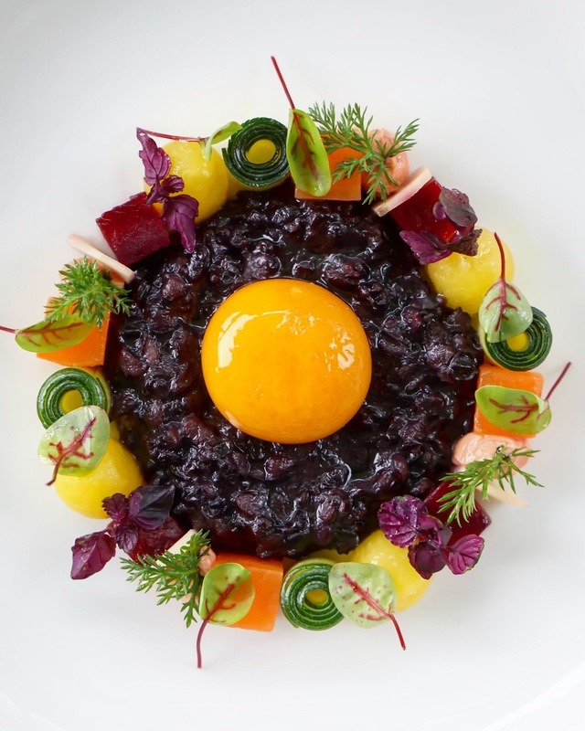 venere risotto with confit egg yolk