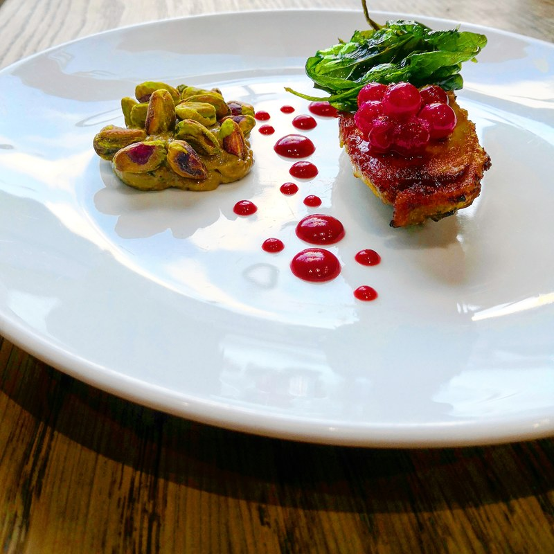 Crispy chicken, cranberry, pistachio...