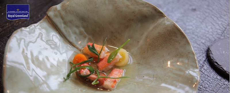 Snow crab with heirloom tomatoes, sea herbs and 'sea water' by chef Josh Overington