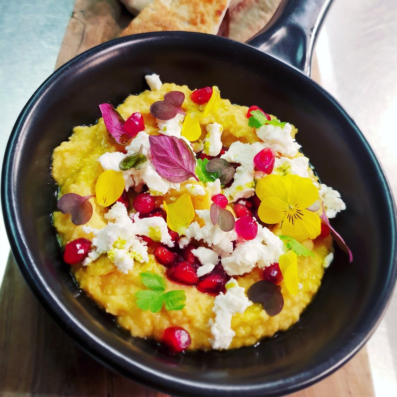 Hummus/ Feta/ Pomegranate/ Herbs/ Lemon/ Parsley Oil/ Flat Bread.