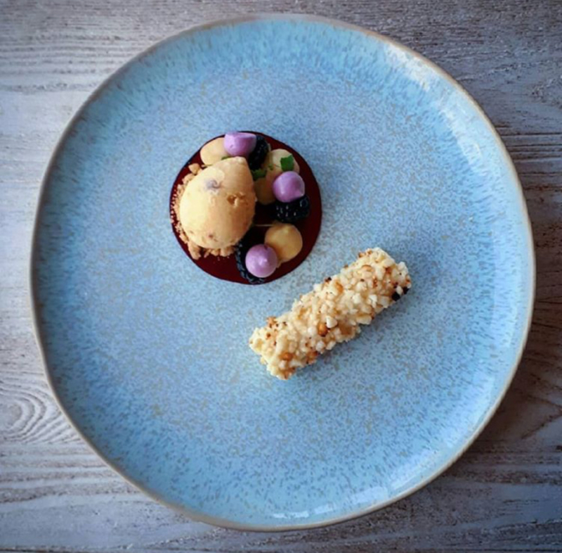 White chocolate and macadamia nut mousse | White chocolate cookie dough ice cream | Blackberry
