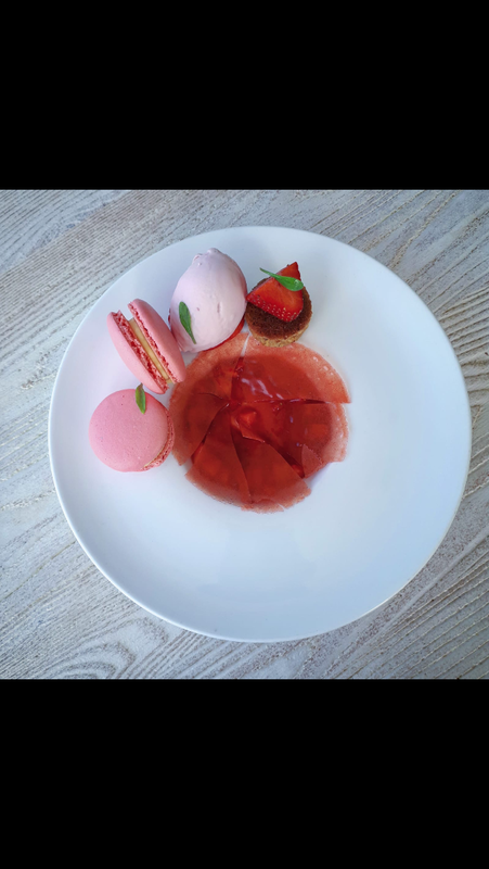 Irish strawberry compote, vanilla panna cotta, macaroons, strawberry ice cream, vanilla cake