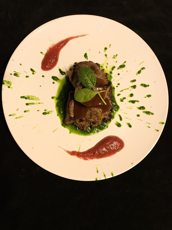 beef with spinach purée, BBQ sauce and cranberries