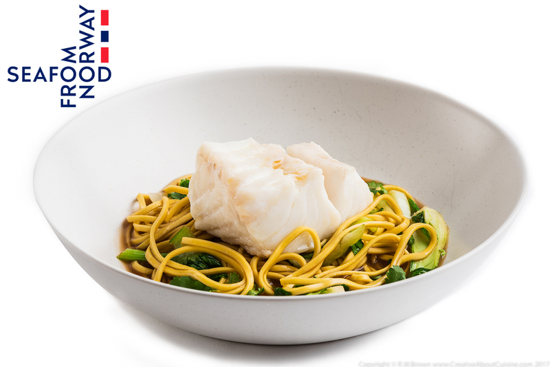 Steamed Norwegian Skrei cod with ginger, soy and lemongrass broth