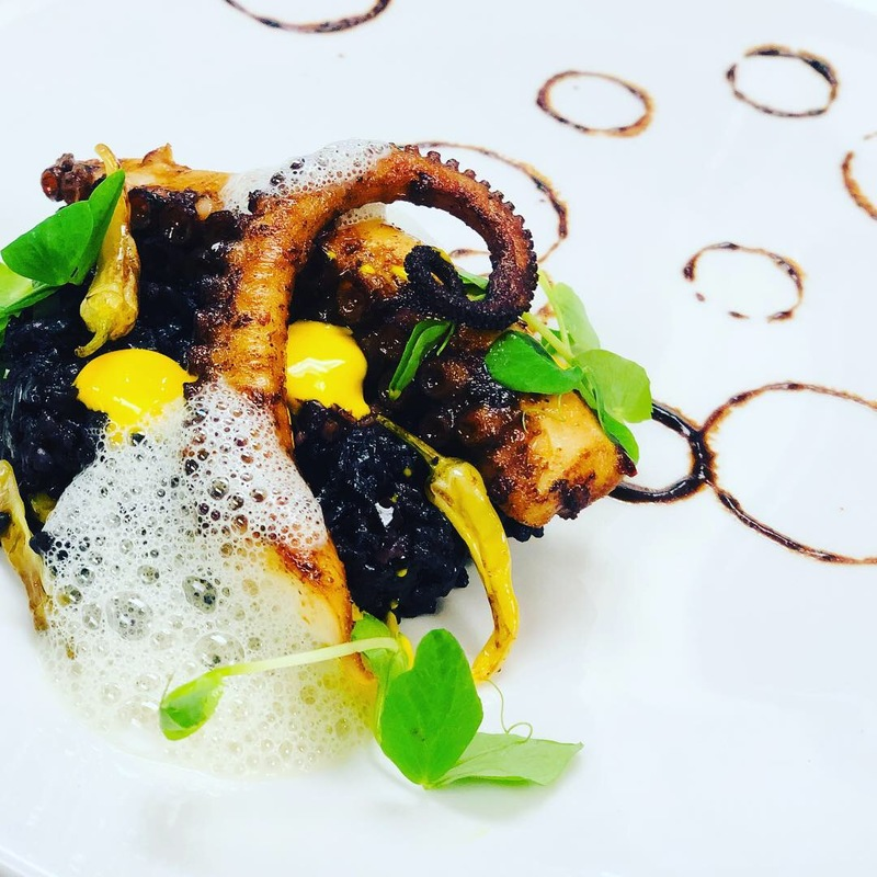 Octo, fermented black bean, forbidden rice, Saffron Aioli, Sea foam, Tiny peppers
