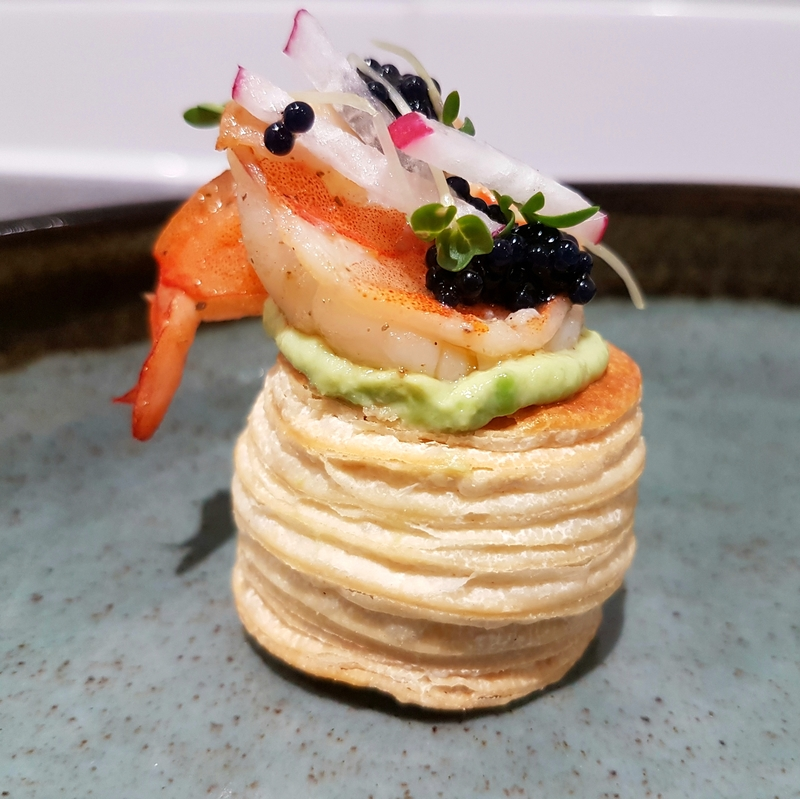 Vol-au-vent • avocado mousse • king prawn • lumpfish roe • radish • cress