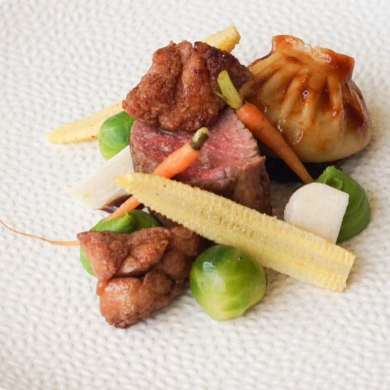 Fillet of Dutch Veal, Sweetbread, Georgian Inspired Khinkali filled with Vegetables, Mme Jeanette Sauce.