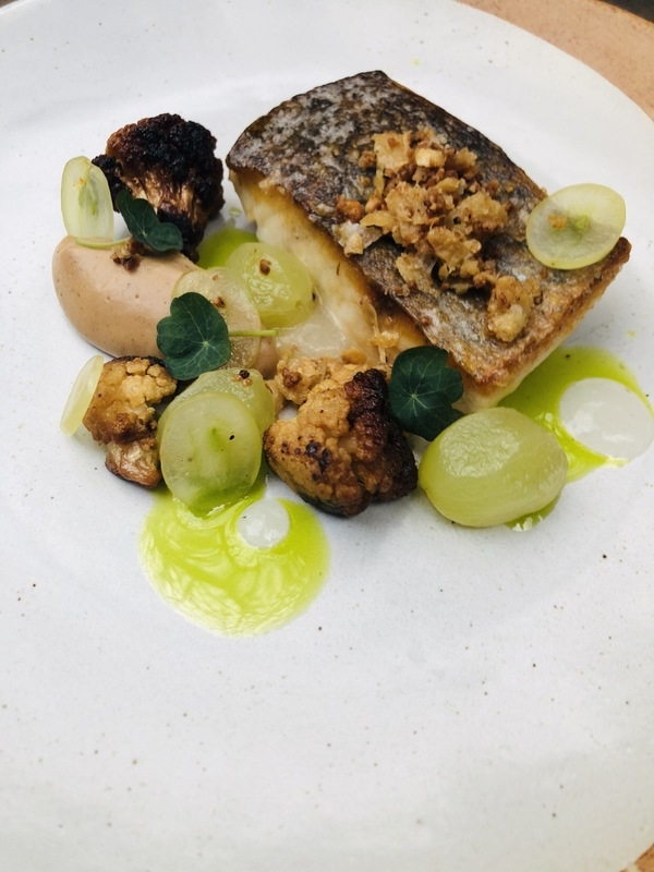 Stonebass, yeasted cauliflower, white grape