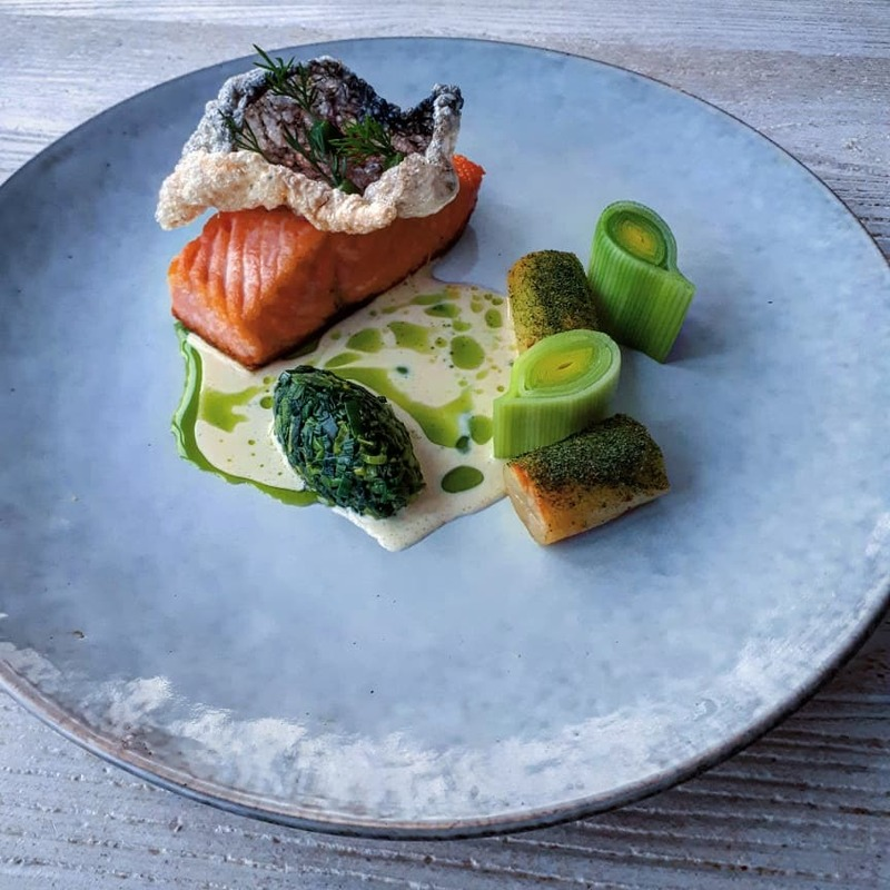 Seared irish salmon, crispy skin, potato and leek, sour cream chowder