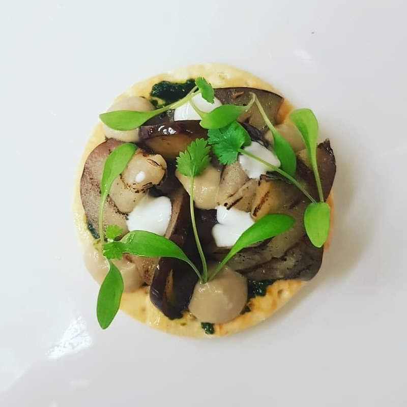 Grilled Aubergine, Zhoug, Coconut Yoghurt, Puff Pastry