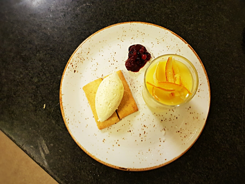 Lemon & Thyme Posset , Ginger and Vanilla Shortbread, Star Anise Chantilly and Candied Orange Peel
