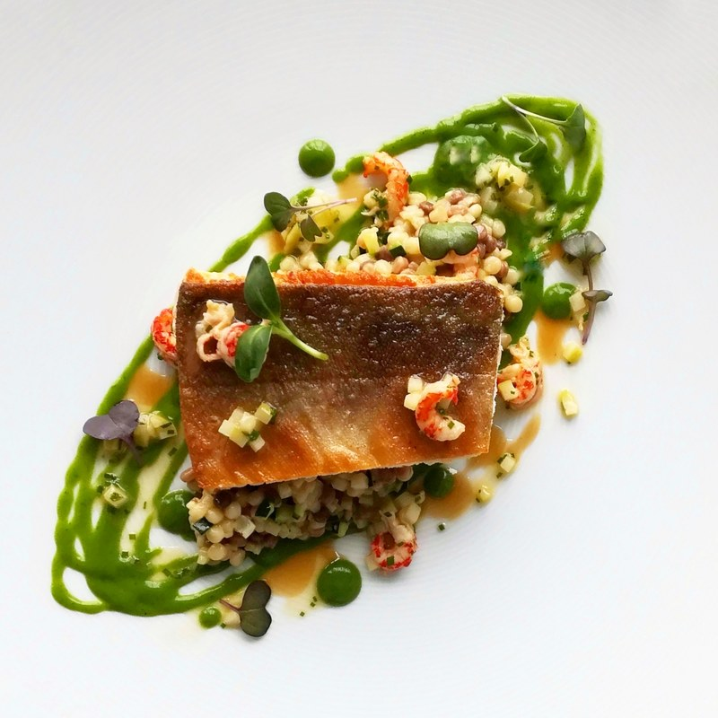 Seared Artic Charr, courgette&lemon fregula, crayfish tail & apple butter..