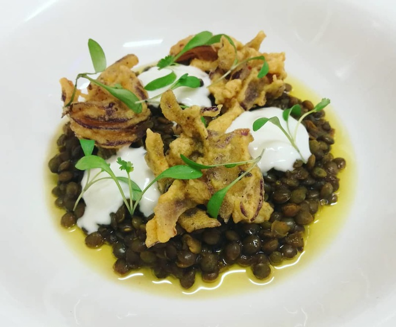 Vegan Special @BridgeviewSt. Curried Puy Lentils, Onion Bhajis, Soya Yoghurt, Coriander.