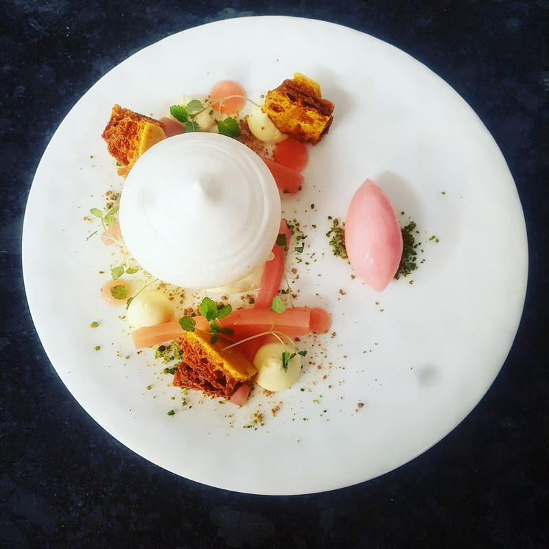 First of the season rhubarb, orange mascarpone, pistachio, honeycomb, rhubarb and yuzu sorbet