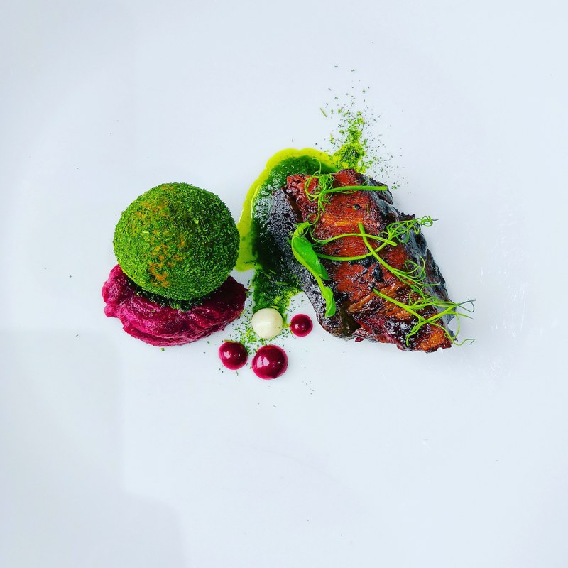 Brisket, watercress dumpling, berries.