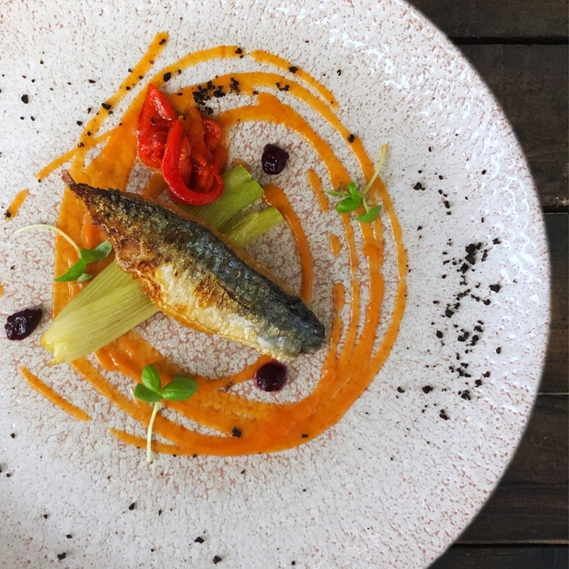 Mackerel, piquillo pepper, fennel and black olives, micro basil.