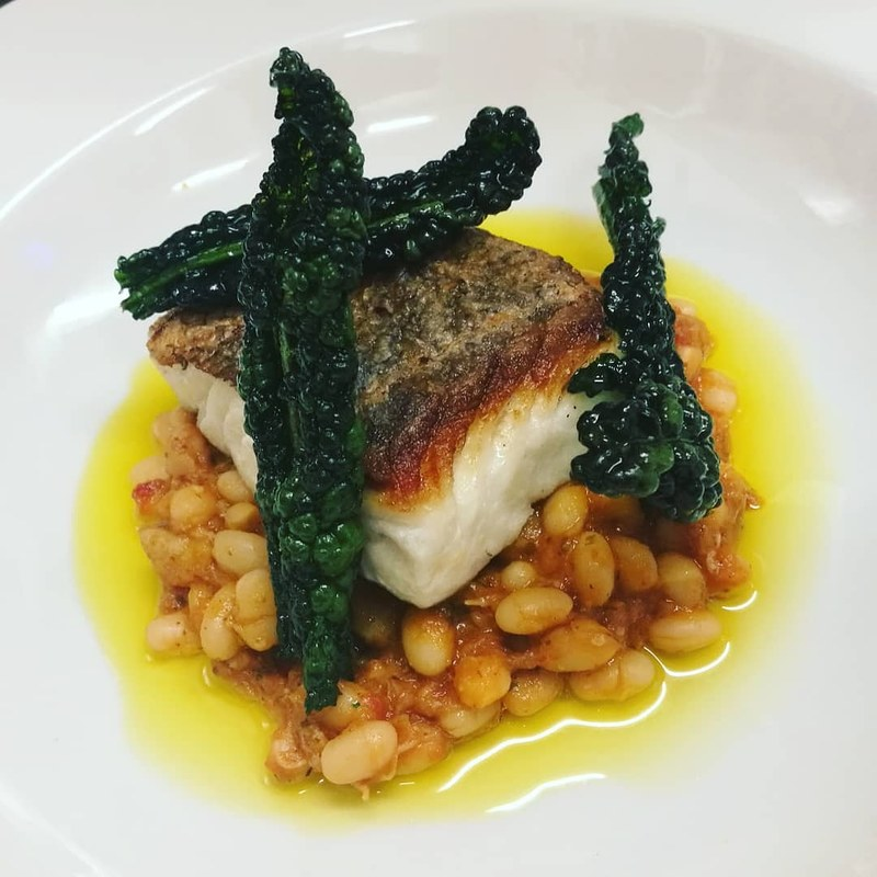 Peterhead Coley Fillet, White Bean Cassoulet, Pittormie Cavolo Nero